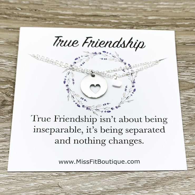 Heart Necklace Set for 2, Friendship Necklaces, Friends Forever Quote, Bestie Gift, Shareable Necklaces, Birthday Gift, Long Distance Friend