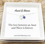 Aunt & Niece Necklace, Silver Heart Pendant, Infinity Necklace, Personalized Jewelry, Custom Message Card, Gift from Aunty, Birthday Gift
