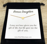 Bonus Daughter Necklace, Dainty Heart Necklace Silver, Gift for Stepdaughter, Meaningful Jewelry, Gift from Step Mom, Birthday Gift