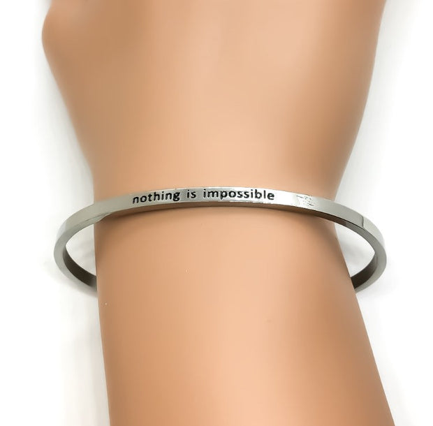 Nothing is Impossible Cuff Bangle Bracelet, Fearless, Gift for Friend, Thin Mantra Bracelet Silver, Minimalist Bracelet, Friendship Jewelry
