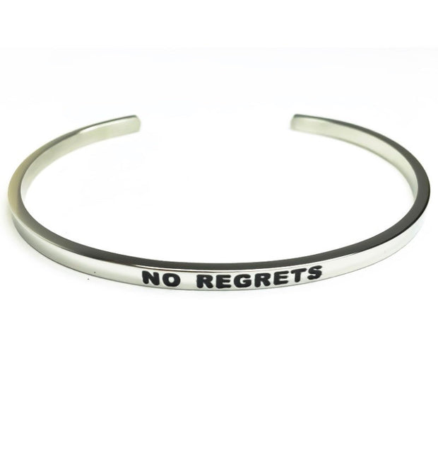 No Regrets Cuff Bangle Bracelet, Faith Gift, Gift for Friend, Thin Mantra Bracelet Silver, Minimalist Bracelet, Friendship Jewelry, Inspire