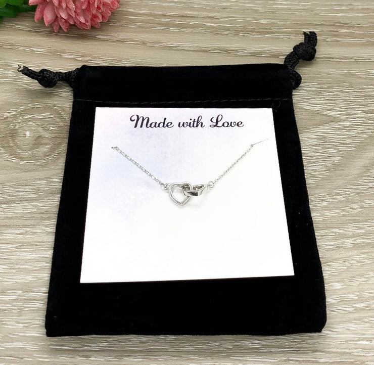 Sister Necklace, Dainty 2 Heart Necklace, Connected by the Heart Quote, Gift for Sister, Sorority Jewelry, Holiday Gift from Sister