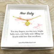 Card for Mom To Be, Tiny Heart Necklace with Footprints, New Baby, Expectant Mother Gift, Motherhood Keepsake, Gift for New Mommy