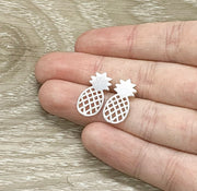 Pineapple Stud Earrings Silver, Fruit Earrings, Tropical Jewelry, Minimalist Stud Earrings, Foodie Jewelry, Boho Earrings, Birthday Gift