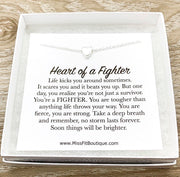 Heart of a Fighter Quote, Strength Gift, Tiny Heart Necklace, Gift for Survivor, Personalized Gift for Women, Encouragement Gift