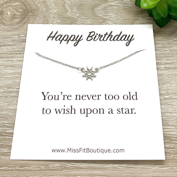 Happy Birthday Card, Tiny Star Necklace, Wish Upon A Star, Best Friend Gift, Friendship Necklace, Minimal Jewelry, Sentimental Gift