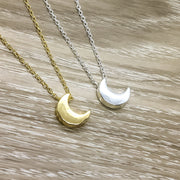 Tiny Crescent Moon Necklace, Celestial Jewelry, Lunar Eclipse Pendant, Minimalist Jewelry, Thinking of You Gift, Anniversary, Young Girl