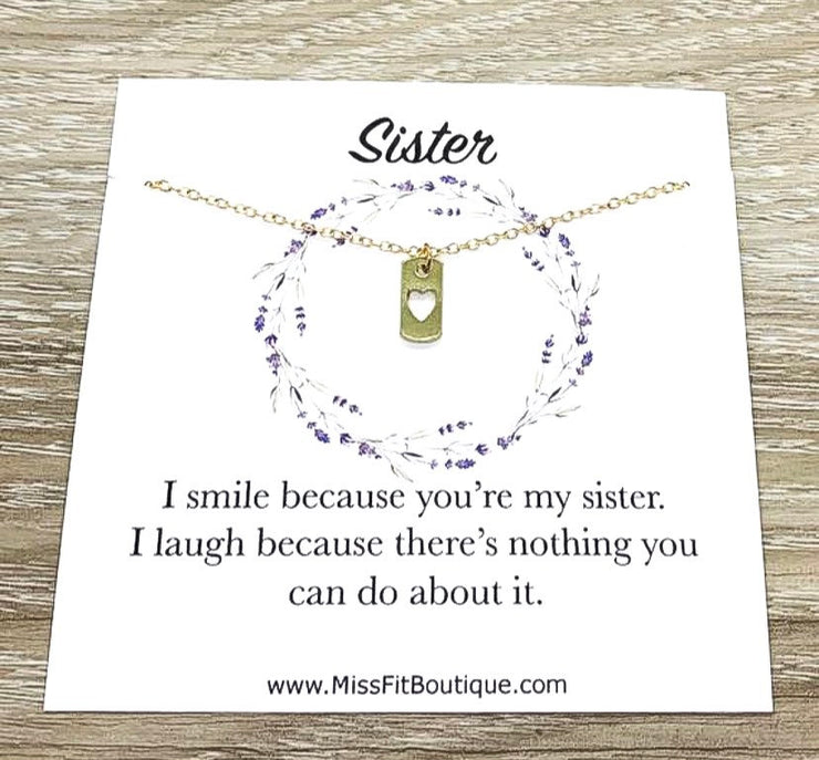 Sisters Necklace, Tiny Heart Dog Tag Pendants, Big Sister Gift, Dainty Necklace, Little Sister Gift, Gift for Sister, Simple Reminder Gift