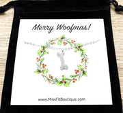 Merry Woofmas Card, Dog Bone Necklace, Dog Lover Christmas Gift, Personalized Gift, Unique Holiday Card, Stocking Stuffer Gift, Doggie Gift
