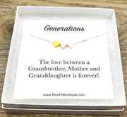 3 Hearts Necklace with Card, Mom Necklace, Meaningful Gift, Generations Gift, Grandmother Necklace, Dainty Jewelry, Granddaughter Gifts