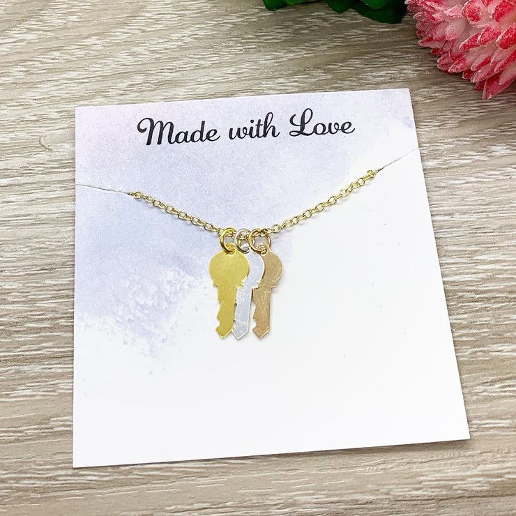 Friendship is Key Quote, Tiny Three Keys Necklace, Friendship Necklace, Gift for BFF, Key Shaped Pendant, Skeleton Key Charm, Teen Girl Gift