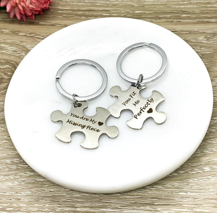 Missing Piece Keychain Set for 2, Puzzle Key Rings, Best Friend Keychains, You Fit Me Perfectly, Friendship Gifts, Gift for BFF, Wife Gift