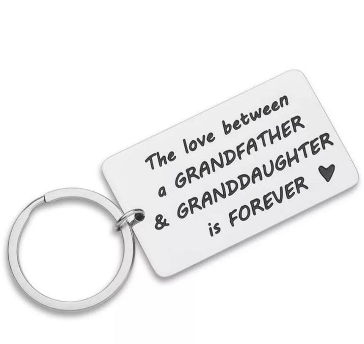 The Love Between a Grandfather and Granddaughter is forever, Grandpa Keychain, Gift from Granddaughter, Birthday Gift for Grandfather