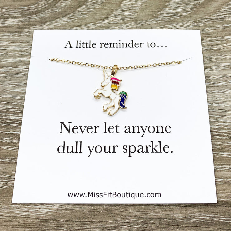 Rainbow Unicorn Necklace, Dull Your Sparkle Quote, Unicorn Jewelry, Unicorn Lover Gift, Unicorn Pendant, Teen Girl Gift, Birthday Gift