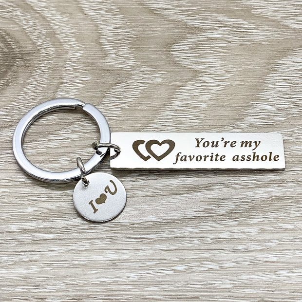 You're My Favorite Asshole Keychain, Funny Husband Keychain, Gift from Wife, Anniversary Gift, Humorous Birthday Gift for Him, Christmas