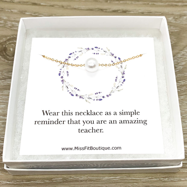 Amazing Teacher Gift, Floating Pearl Necklace, Gift from Student, Teacher Appreciation Gift, Thank You Gift, Simple Reminder Card