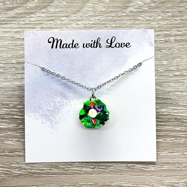 Tiny Salad Charm Necklace, Miniature Food Necklace, Realistic Salad Bowl Pendant, Friendship Gift, Cute Friends Birthday Gift for Her