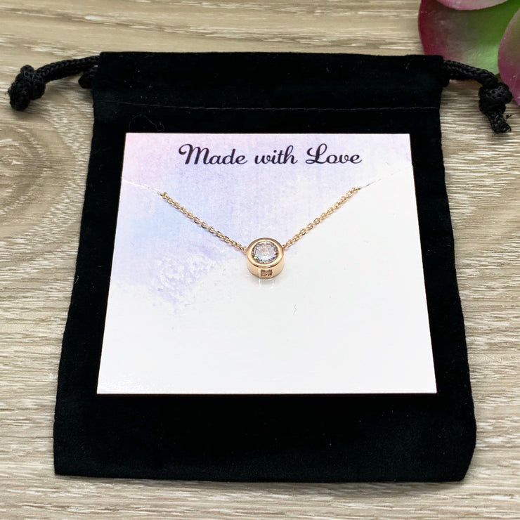 She Believed She Could Jewelry Gift, Round Crystal Necklace, Rose Gold Solitaire Pendant, Strength Jewelry, Gift for Friend, Affirmation