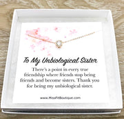 Unbiological Sister Jewelry, Friendship Gift, Tiny Round Crystal Necklace, Rose Gold Solitaire Pendant, Bonus Sister Gift, Gift for Friend