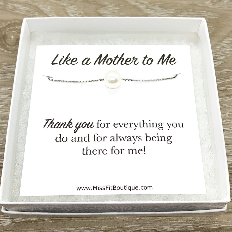 Like a Mother to Me Gift, Floating Pearl Necklace, Gift for Bonus Mom, Unbiological Mother Gift, Godmother Gift, Birthday Gift for Mom