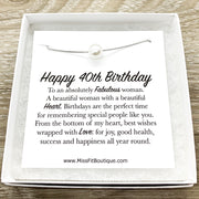 Happy 40th Birthday Gift, Single Floating Pearl Necklace, Happy Birthday Card, Gift for Her, Jewelry for Women, Sister, Friend, Mother, Aunt