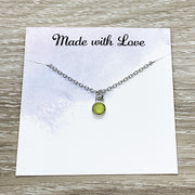 Happy Retirement Gift, Tiny Green Chalcedony Necklace, Crystal Pendant, August Birthstone, Gift for Coworker, Gift from Colleague, Friends