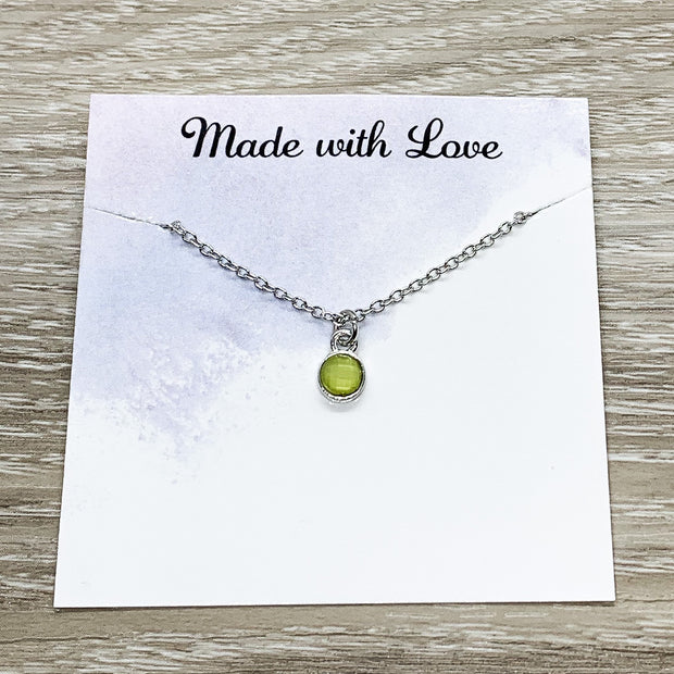 Happy Belated Birthday Gift, Shit I Forgot Your Birthday, Tiny Green Chalcedony Necklace, Solitaire Crystal Pendant, Gift from Best Friend