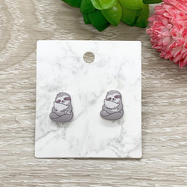 Sloth Earrings, Tiny Shrink Plastic Stud Earrings, Animal Lover Jewelry, Cute Earrings, Unique Jewelry, Gift for Daughter, Sister Gift