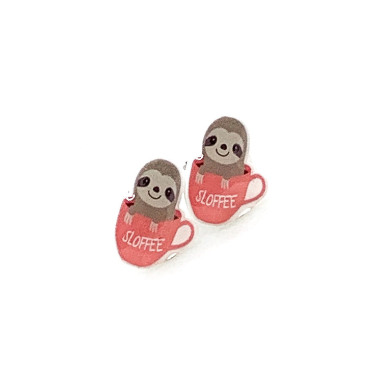 Sloth Earrings, Sloffee, Sloth Coffee Cup, Tiny Shrink Plastic Stud Earrings, Animal Lover Jewelry, Cute Earrings, Unique Studs, Birthday