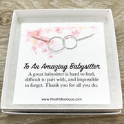 Amazing Babysitter Gift, Interlocking Circles Necklace, Circular Pendant, Linked Circles Necklace, Thank You Gift for Babysitter, Christmas