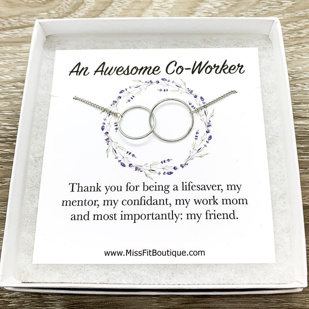 Amazing Coworker Gift, Interlocking Circles Necklace, Circular Pendant, Linked Circles Necklace, Gift for Colleague, Retirement Gift