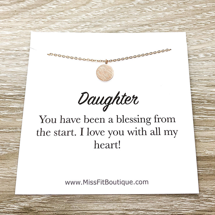 Daughter Gift, Tiny Round Disc Necklace, Rose Gold Solitaire Pendant, Unbiological Daughter Gift, Birthday Gift for Daughter, Christmas