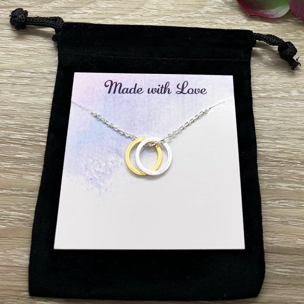 Unbreakable Bond Gift, Pendant, Linked Circles Necklace, Interlocking Circles Necklace, Gift for Best Friend, Anniversary Gift, Love Jewelry