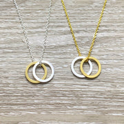 Aunt & Niece Gift, Circular Pendant, Linked Circles Necklace, Interlocking Circles Necklace, Aunty Gift, Niece Necklace, Gift for Aunt