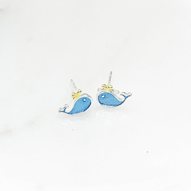 Tiny Whale Stud Earrings, Animal Earrings, Fish Jewelry, Minimalist Stud Earrings, Nature Gift, Sea, Summer, Boho Earrings, Stocking Stuffer