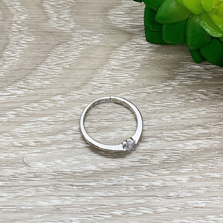 Dainty Heart Ring, Tiny Diamond Statement Ring, Sterling Silver Jewelry, Promise Ring, Friendship Gift, Gift for Mom, Gift from Boyfriend