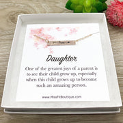 Daughter Necklace, Dainty Love Necklace Rose Gold, Silver, Gift from Mom, Meaningful Jewelry, Greatest Joy, Birthday Gift for Her