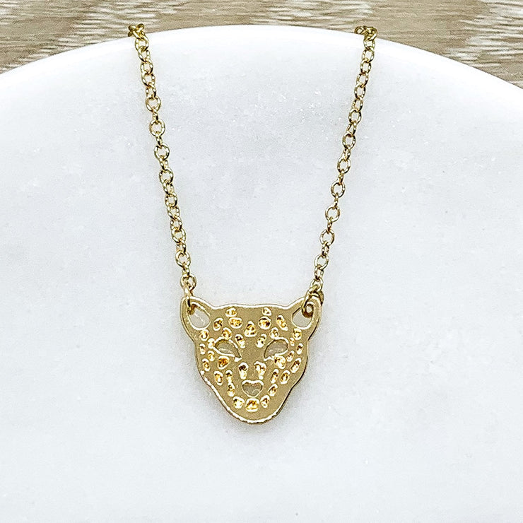 Cheetah Necklace, Gold Leopard Necklace, Tiger Necklace, Minimal Necklace, Animal Lover Gift, Animal Jewelry, Jungle Jewelry