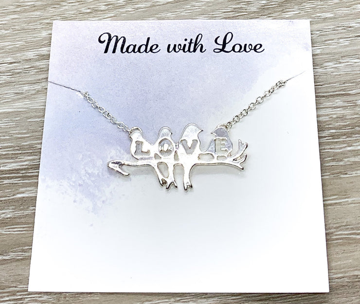 Bird Lover Gift, Love Birds Necklace, Four Birds on a Branch Necklace, Romantic Necklace, Gift for Grandma, Gift for Girlfriend