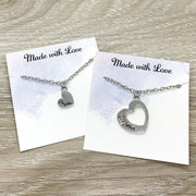 Mother and Daughter Necklace Set for 2, Interlocking Hearts Necklaces, Two Hearts Pendant, Every Day Necklace, Daughter Gift, Mother Gift