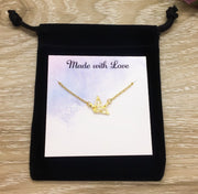 Origami Crane Necklace with Personalized Card, Bird Jewelry, Nature Lover Jewelry, Friendship Necklace, Motivational Gift, Inspirational