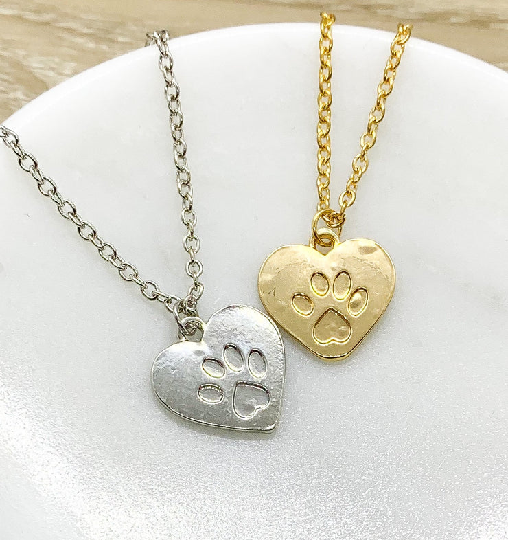 Heart Paw Print Necklace, Dainty Paw Pendant, Minimal Pet Jewelry, Cat Lover Gift, Dog Owner Gift, Paw Prints on your Heart Quote, Pet Loss