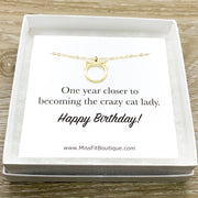 Happy Birthday Card, Purrfection Necklace Silver, Dainty Cat Ears Pendant, Minimal Cat Jewelry, Cat Lover Gift, Cat Owner Gift