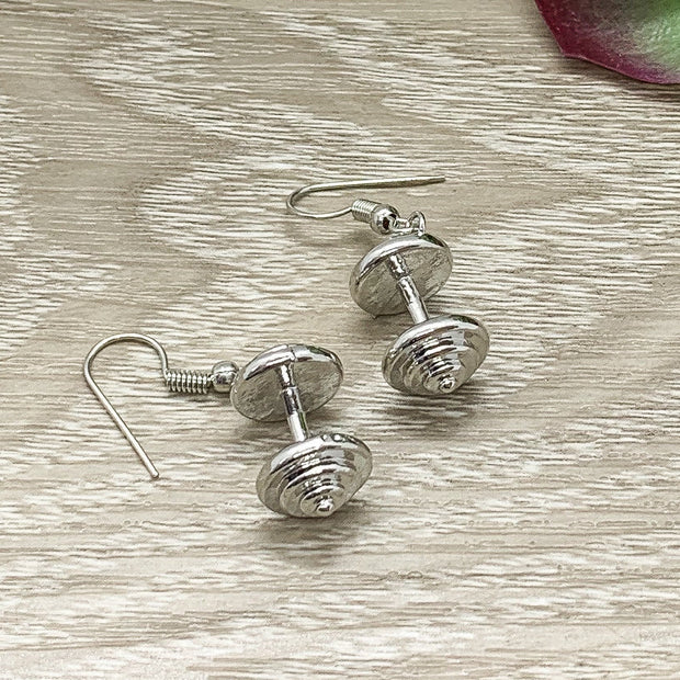 Dumbbell Earrings, Dainty Fitness Earrings, Tiny Silver Dumbbell Charm Jewelry, Weightlifting Gift, Fitness Trainer Gift, Crossfit Jewelry