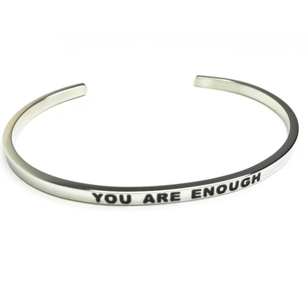 You Are Enough Cuff Bangle Bracelet, Gift, Gift for Friend, Thin Mantra Bracelet Silver, Minimalist Bracelet, Friendship Jewelry, Inspire