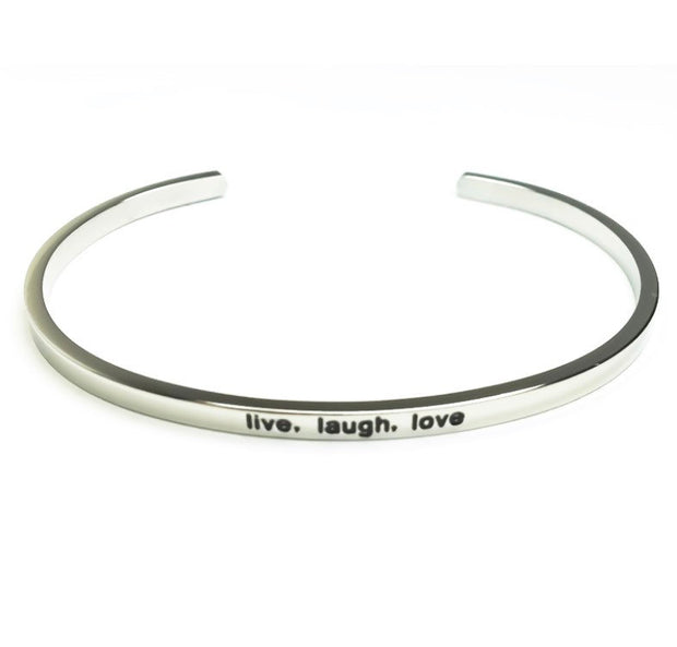Live Laugh Love Cuff Bangle Bracelet, Buddha Quote for Friend, Thin Mantra Bracelet Silver, Minimalist Bracelet, Friendship Jewelry, Inspire