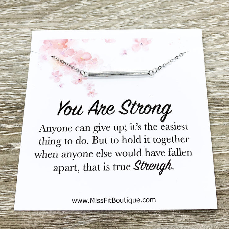 You Are Strong Card, Balance Bar Necklace, Strength Jewelry, Sterling Silver Necklace, Layering Necklace, Gift for Sister, Motivational Gift