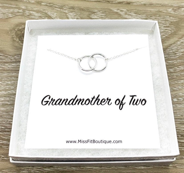 Grandmother of Two Necklace with Card, Linked Circles Necklace, 2 Circle Pendants, Gift for Grandma from Grandkids, Gift for Nana