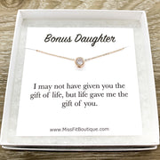 Bonus Daughter Gift, Tiny Round Crystal Necklace, Rose Gold Solitaire Pendant, Unbiological Daughter Gift, Gift for Stepdaughter, Birthday