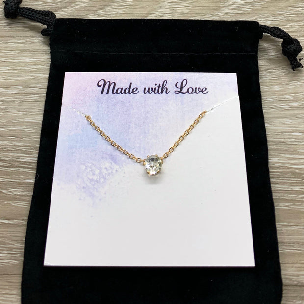 Happy Belated Birthday Gift, Sorry I Forgot Your Birthday, Tiny Crystal Necklace, Solitaire Rhinestone Pendant, Gift from Best Friend